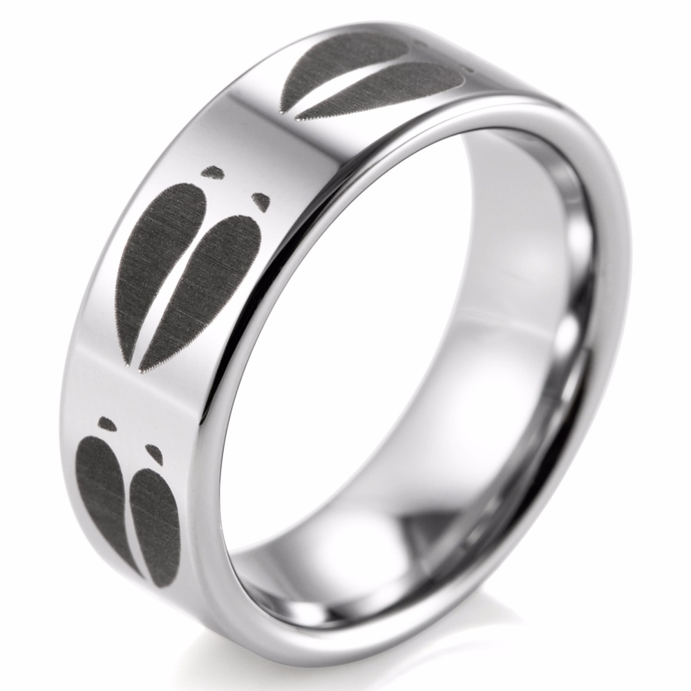 Shardon 8mm Animal Deer Track Print Ring Engraved Flat Tungsten Outdoor Wedding Band And Engagement Jewelry In Bands From