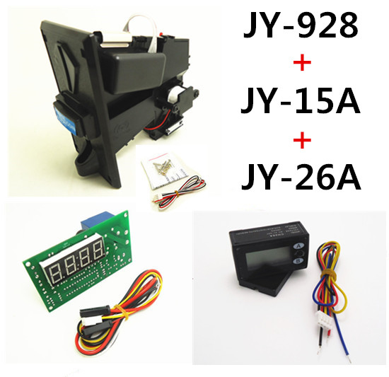 JY-928+JY-15A+JY-26A coin operated time control device for cafe kiosk, multi coin selector with timer board and reset counter цифровая видеокамера jvc jy hm360e jy hm360e