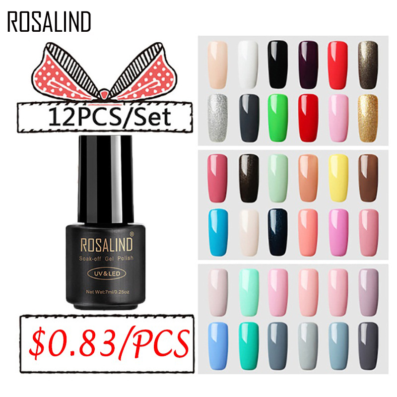 (12PCS/SET)ROSALIND Gel Nail Polish Set For Nail Extension Kit Nail Art UV LED Lamp Design Manicure Acrylic Nail Gel Polish Set