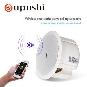 Altavoz de techo Oupushi de 6,5 pulgadas Bluetooths, altavoz de pared activo ABS de 110V, sistema de sonido PA para música en casa, sistema de cine en casa