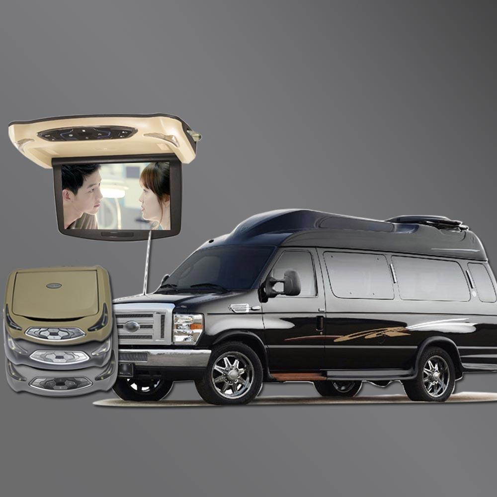 BigBigRoad pour Ford E350 Expedition explorer Tourneo toit de voiture personnalisé monté dans les moniteurs de voiture LED écran numérique Flip Down DVD