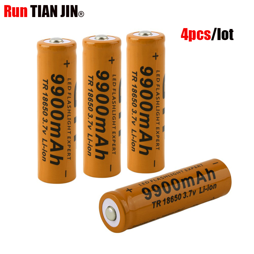 New 4 pcs set 18650 battery 3 7V rechargeable liion battery for Led flashlight batery litio