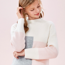 SEMIR Women Long Knit Mohair-blend Sweater in Color Block Dr