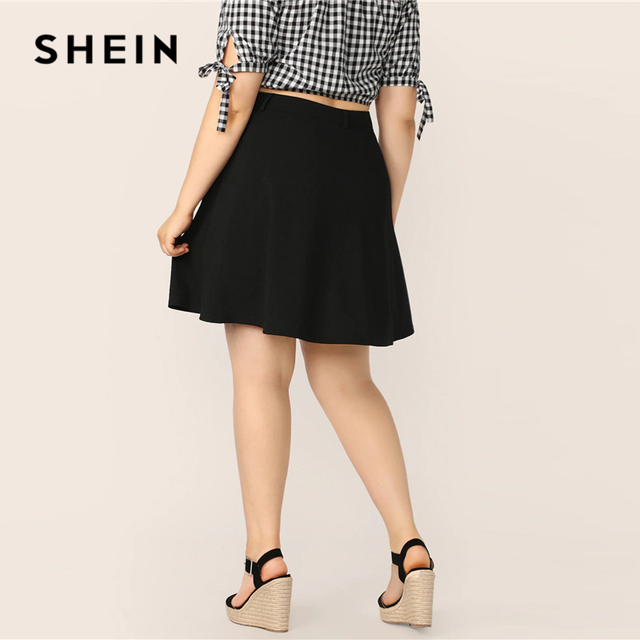 SHEIN Plus Size Black Button Up Flare Skirt 2019 Women Summer Casual A Line Solid Big Size Above Knee Mini Short Skirts 2
