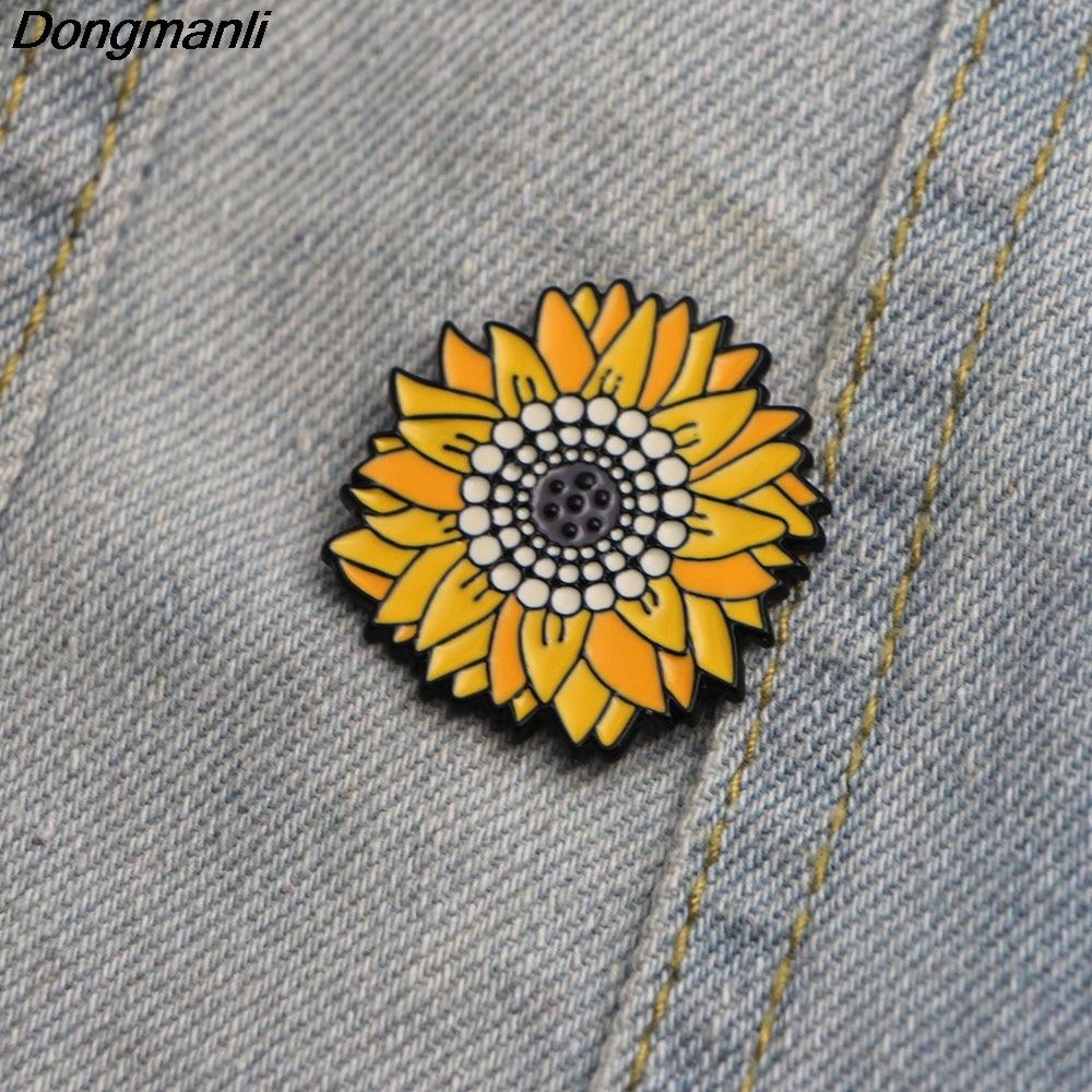 L2307 Dongmanli Van Gogh Sunflower Art Pin Sunflower Badge Flower Brooch Enamel Pins Brooches For Women Men Lapel Pin