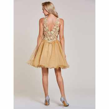 Dressv appliques cocktail dress champagne halter neck sleeveless knee length a line gown lady homecoming short cocktail dresses