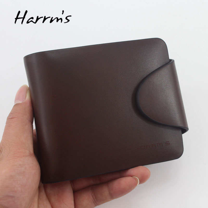 Harrms brand Men's short style brown color cowhide men wallets male genuine leather wallets with gold metal hasp