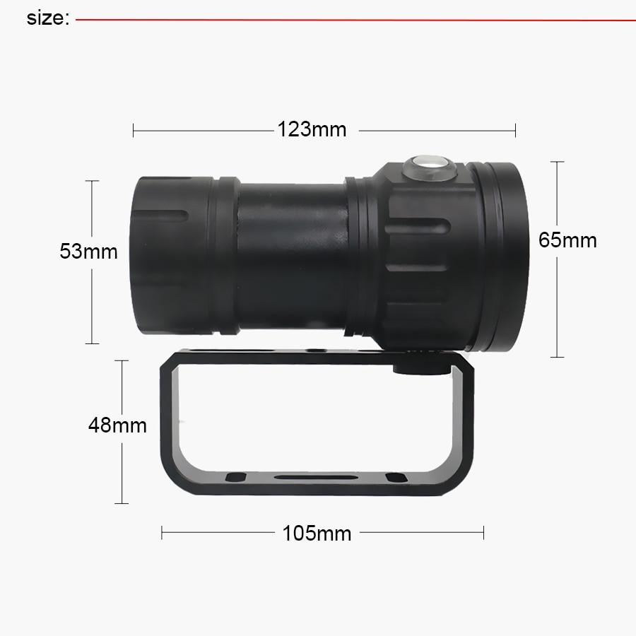 Nouvelle led Flashlight Plongée Sous-Marine 80 M XHP70/L2 Photographie caméra vidéo lampe de poche tactique Bleu + Blanc led Lanterna Torche - 6