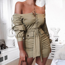 CUERLY Elegant slash neck lace up women khaki dress Long sleeve bodycon short mini Sashes plus size ladies party