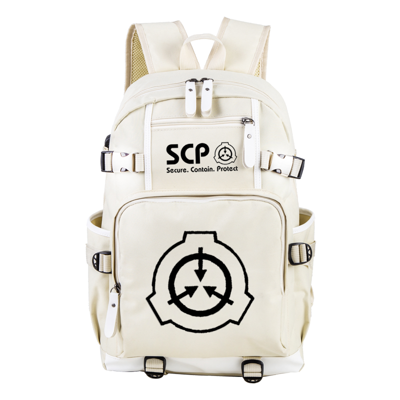 SCP Secure Contain Protect Beige Book Bag Notebook Backpack Knapsack Travel  School Bag Rucksack Boy Girls Day Pack With USB Port
