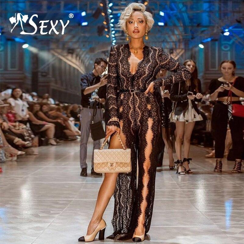 Manches Black Mode Jumpsuit À Survêtement Combinaisons Barboteuse Maigre Bodycon 2019 Sexy Femmes Dentelle Gosexy Parti Nouvelle Longues Noir Eqx7gwna1