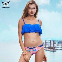 NAKIAEOI Sexy Bikinis Women Swimsuit Push Up Swimwear 2017 New Bandeau Ruffle Print Brazilian Bikini Set