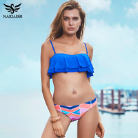 NAKIAEOI Sexy Bikinis Women Swimsuit Push Up Swimwear 2017 New Bandeau Ruffle Print Brazilian Bikini Set