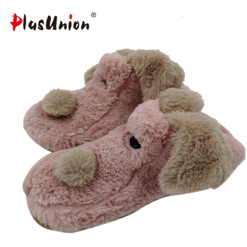 cartoon pink puppy dog animal cute cotton plush home indoor slippers for women house winter furry fluffy Shoes adult anime shoe adult cartoon indoor emoji slippers furry anime fluffy rihanna winter cute adult women animal shoes house warm plush slippers