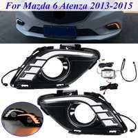 Daytime Running Lights LED DRL Daylight Fog light cover Car Flashing For Mazda 6 for Mazda6 For Atenza 2013 2014 2015