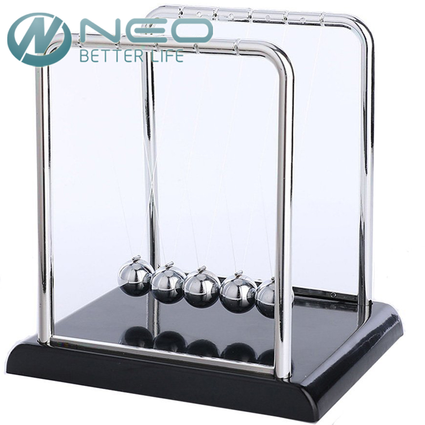 NEO Newton s Cradle Art in Motion Black Plastic Base Balance Balls Physics Pendulum font b
