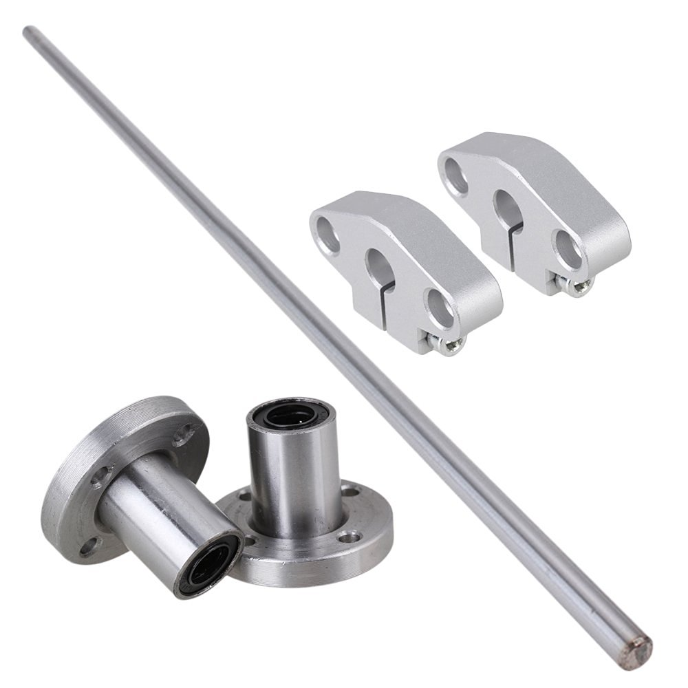 Vertical 8mm Dia Round Flange Motion Bushing Bearing &400mm Linear Shaft Optical Axis with Rod Rail Support Set of 5 lmh20luu 20mm inner dia oval flange mounted linear motion bushing ball bearing