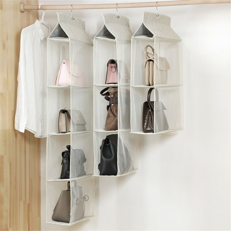 2019 New Fashion Women Multi-layer Grids Hanging Bags Packing Organizer Lady Casual Solid Household Storage Bag