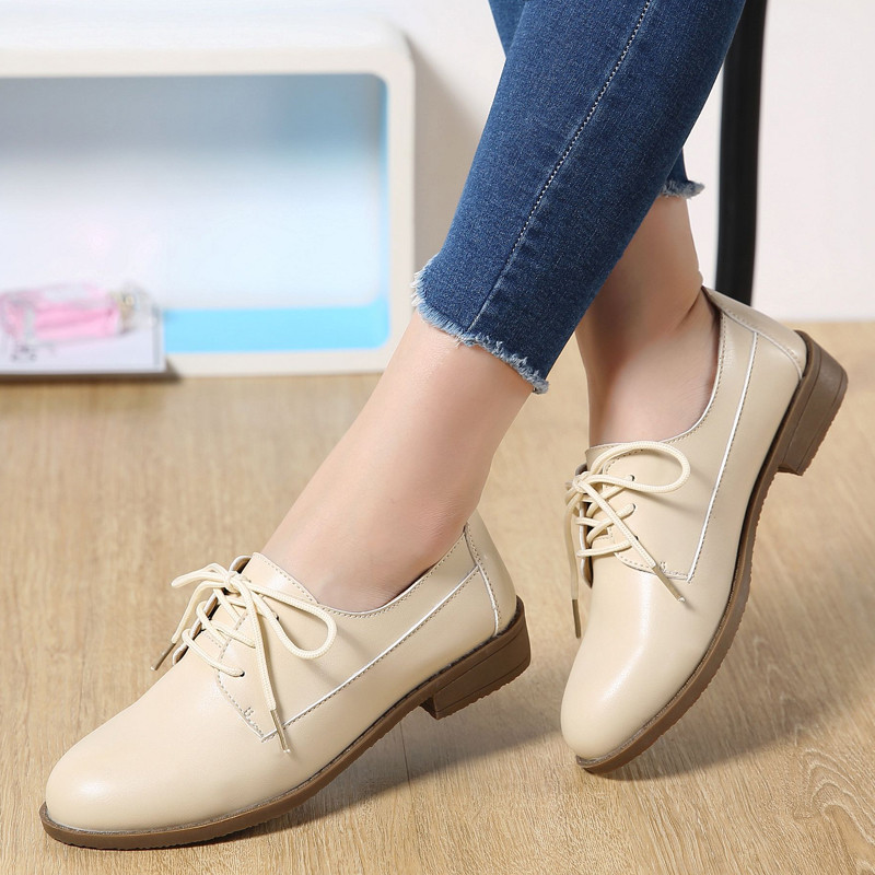 Chaussures Zoqi Mujer Véritable New Beige Dentelle Oxford Pour Noir 2018 Dames Antidérapantes Zapatos Plat black up Casual white Cuir brown Femmes XZXxrw