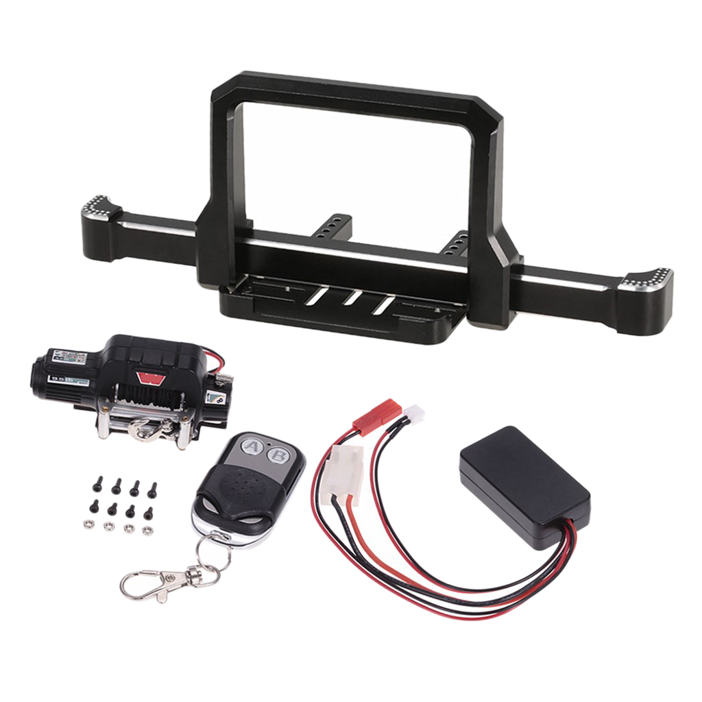 1/10 Front Bumper Guards+Winch Remote Controller Receiver Kit for RC Traxxas TRX-4 Crawler servo and battery forward conversion kit for traxxas trx 4 truck