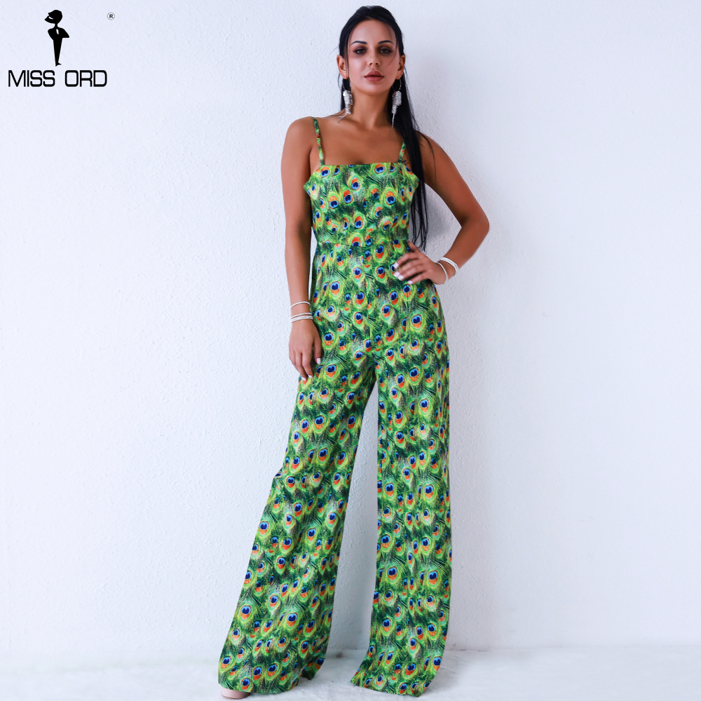 Missord 2019 Women Sexy sleeveless straps print backless tie Jumpsuit FT8833-5