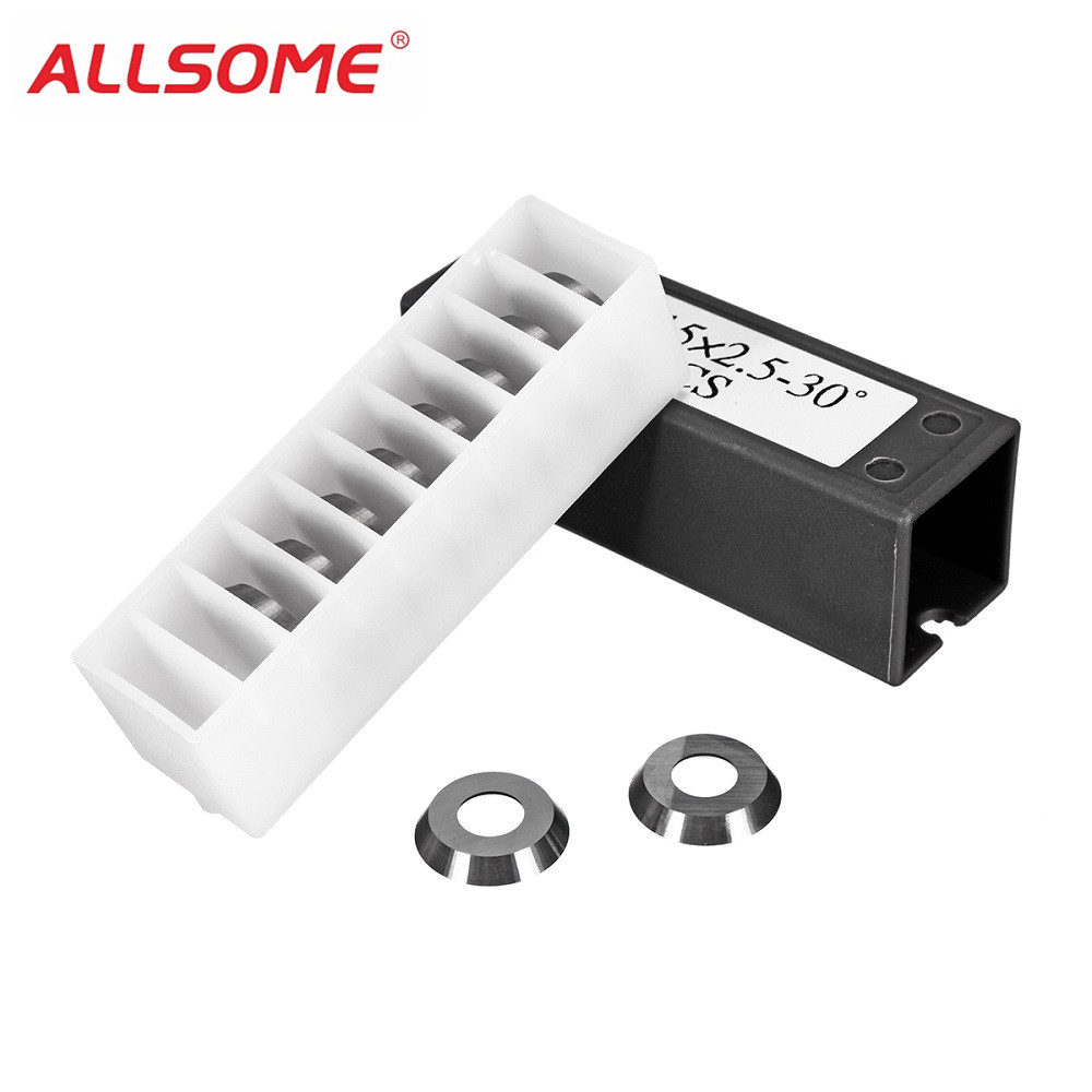 ALLSOME 10Pcs 15mm 30 Degree Round Radius Carbide Insert Replace Cutter Insert For Wood Turning Tools HT1912
