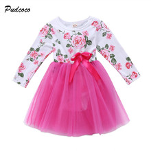 0-18M Lovely Newborn Baby Dress Long Sleeve Floral Romper Patchwork Tutu Princess Girls Dresses One Pieces Outfits Kids Clothes
