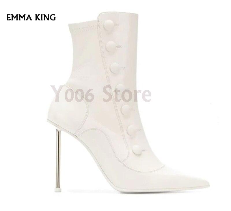 Femmes Femme Côté Pointu Détail Chaussures Aiguille Faux Bout Zip Pour Talons White automne Dames Talon Bottines black Mujer Botas Bouton Printemps Haute qTwBYtM
