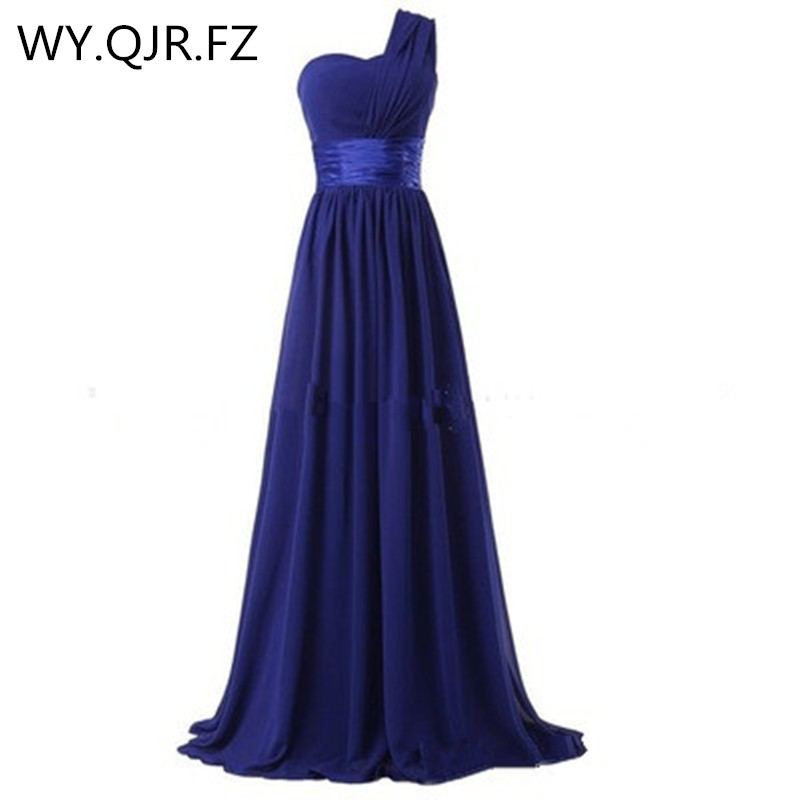 QNZL70L#One-shoulder Back Zip Red Gray Chiffon Long Plus Size Wedding Party Toast Dress 2019 Bridesmaid Dresses Wholesale Custom