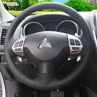 Hand Stitched Black Leather Steering Wheel Cover For Mitsubishi Lancer EX 10 Lancer X Outlander ASX