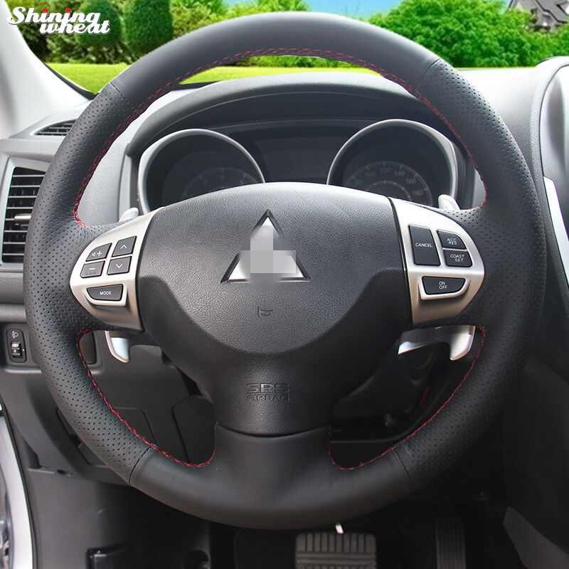 Cubierta de volante de cuero negro de trigo brillante para Mitsubishi Lancer EX 10 Lancer X Outlander ASX Colt Pajero Sport