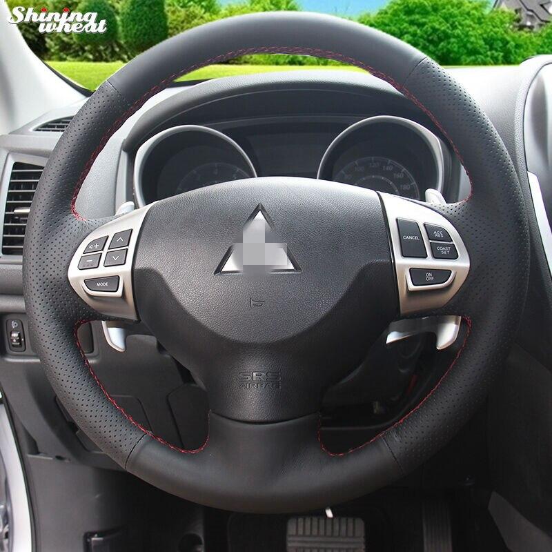 Glänzende weizen Schwarz Leder Lenkradabdeckung für Mitsubishi Lancer EX 10 Lancer X Outlander ASX Colt Pajero Sport