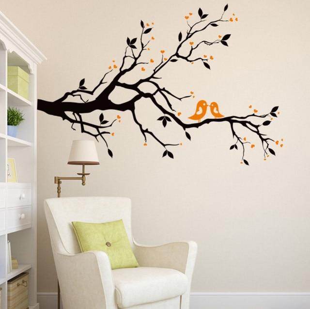 2017 New Orange Love Birds Wallpaper Mural Women Home Bedroom Living Room  Saloon Decor Black Tree Part 13