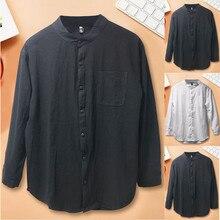 2019 Men Long Sleeve Blouse Loose Top Button Splicing Linen Solid Shirt