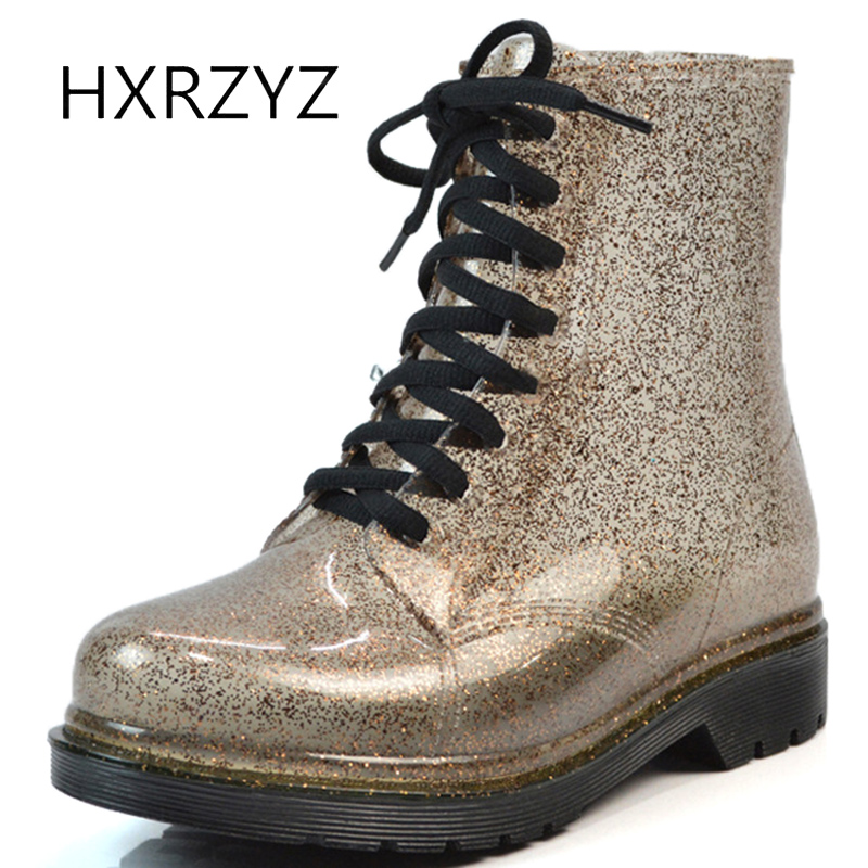 HXRZYZ women rain boots spring/autumn lace up ankle boots new fashion female rubber sole slip-resistant waterproof women shoes hxrzyz women rain boots spring autumn female ankle boots ladies fashion high top blue and red non slip waterproof women shoes