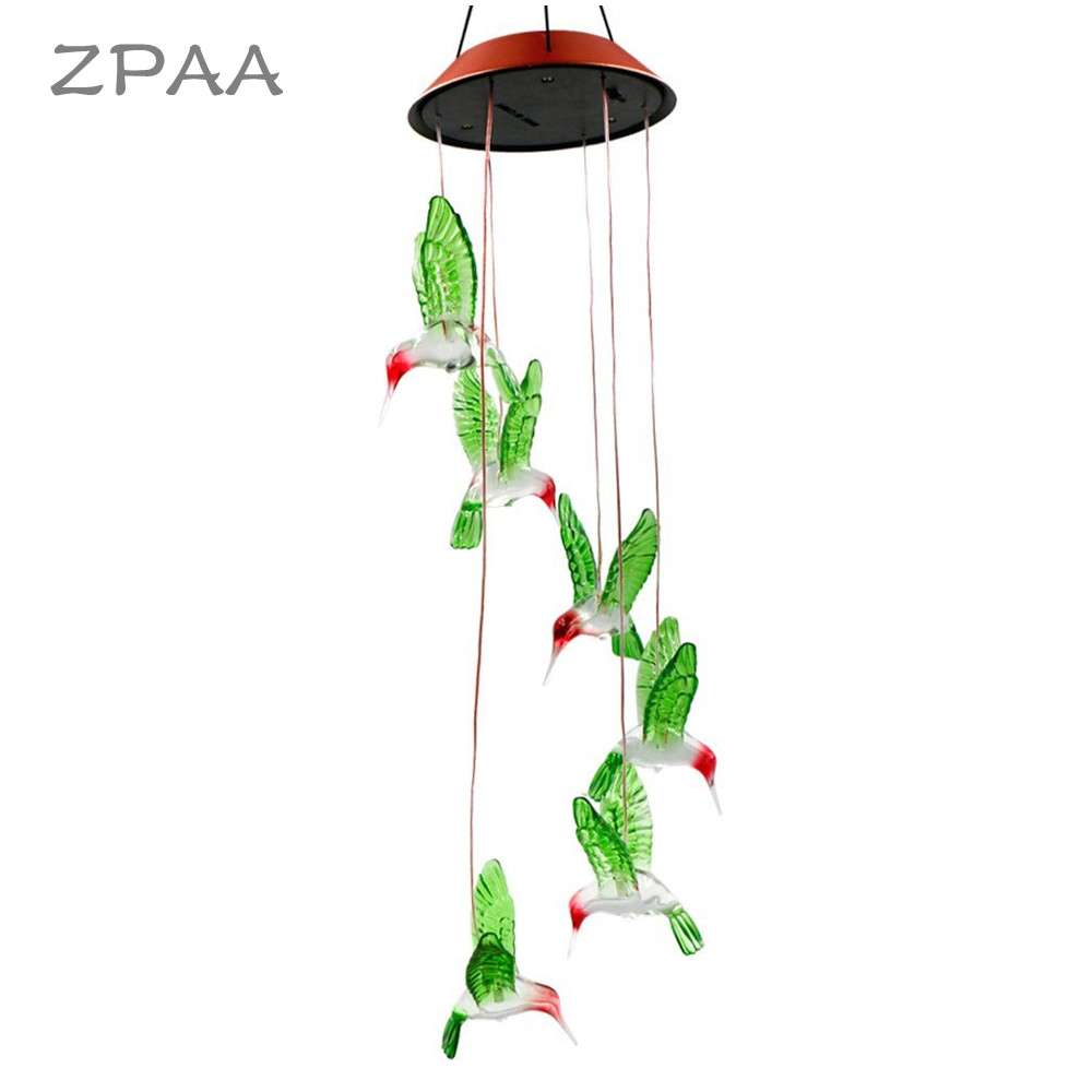 ZPAA Solar Lamp Wind Chime Color-Changing Solar Power LED Mobile Light Waterproof Hummingbird Sunlight for Garden Decoration solar color changing led hanging wind spinner lamp for courtyard
