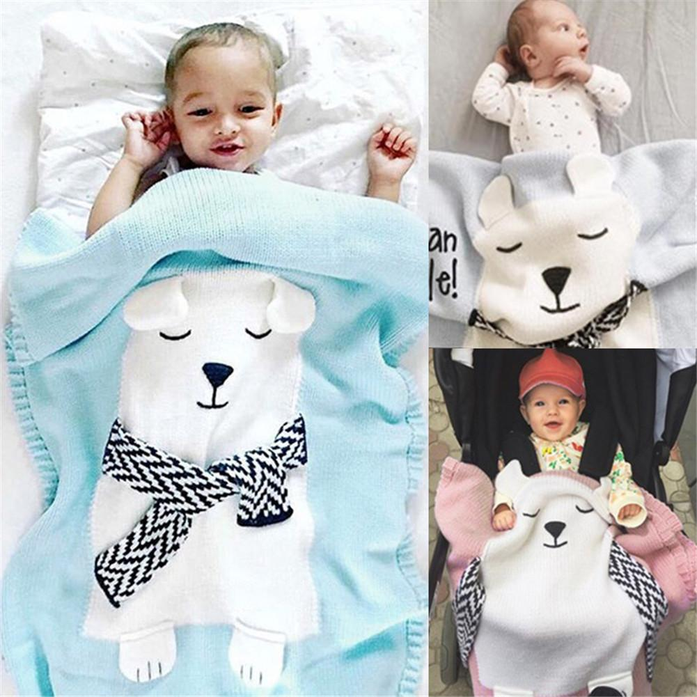White Bear Pattern Blanket Baby Knitted Blanket Warm Cartoon Knitting Wool Blanket