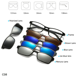 Image 4 - אופנה משקפיים מסגרת גברים נשים עם 5 משקפי שמש קליפ על מגנטי משקפיים מקוטב עבור זכר רב תכליתי משקפי YQ174