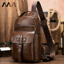 Npason Genuine Leather Bag Mens Chest Single Shoulder For Male  Casual Bags Message cell Phone Brown Headphone Socket