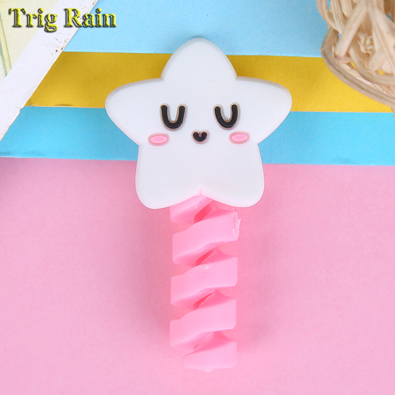 Cartoon Spiral Cable protector Data Line Silicone Bobbin winder Protective For iphone Samsung Android USB Charging earphone Case 2