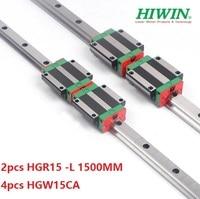 2pcs 100% original Hiwin linear rail HGR15 L 1500mm + 4pcs HGW15CA ( HGW15CC ) flange block carriage for cnc
