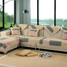 100% cotton slipcover for living room,butterfly pattern printed sofa cover sectional,flowers/plaid anti-slip red sofa towel(China)