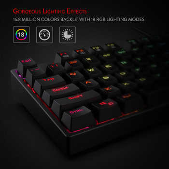Redragon K582 SURARA RGB LED Backlit Mechanical Gaming Keyboard with104 Keys -Linear and Quiet- Red Switches Fast Actuation