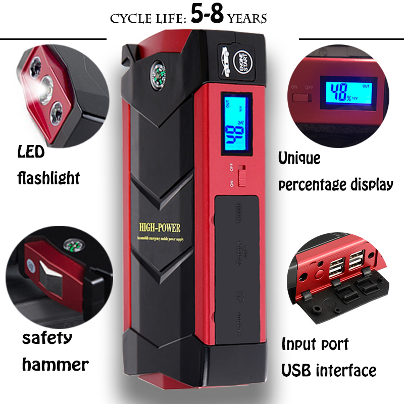 45000MWH Car Jump Starter 600A Peak Device Starting Power Bank Diesel Auto Lighter Battery Portable Pack
