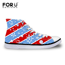 FORUDESIGNS Women's Multi-color Printing Casual Canvas Shoes Breathable Lace-up High Top Vulcanized Shoes For Women Student