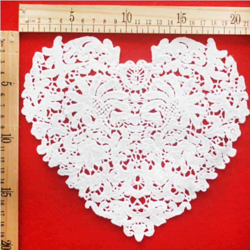 Novi prihod ljubezen čipke ovratnik v obliki srca čudovita bela tkanina Venise čipke šivanje aparat ovratnik obloga DIY obrt