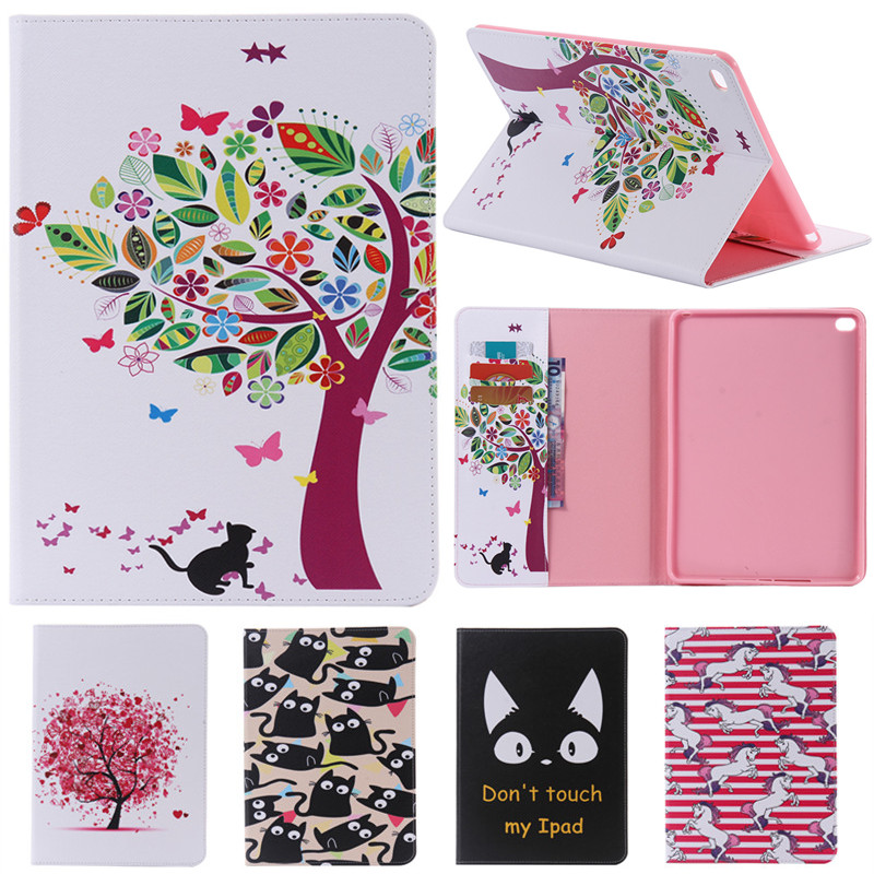 For IPad 6 Cute Cartoon Cat Tree Flower with Card Slot Stand Flip PU Leather Coque Case sFor Apple IPad Air 2 IPad6 Tablet Cover for ipad mini fashion printed stand flip pu leather case for apple ipad mini 1 2 3 7 9 with card slots fundas coque y4d67d