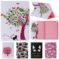 For IPad 6 Cute Cartoon Cat Tree Flower with Card Slot Stand Flip PU Leather Coque Case sFor Apple IPad Air 2 IPad6 Tablet Cover