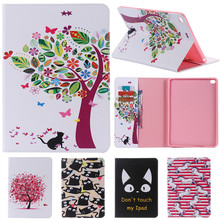 For IPad 6 Cute Cartoon Cat Tree Flower with Card Slot Stand Flip PU Leather Coque Case sFor Apple IPad Air 2 IPad6 Tablet Cover litchi texture pu pc horizontal flip leather case for galaxy note 9 with with card slot black