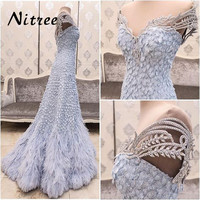 Blue Muslim Feather Mermaid Evening Dresses African Dubai Turkish Formal Prom Gowns Dress For Weddings Abendkleider Kaftan Gowns